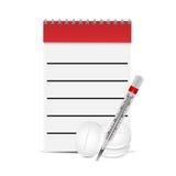 Prescrizioni mediche del blocco note e pillole e termometro Immagini Stock