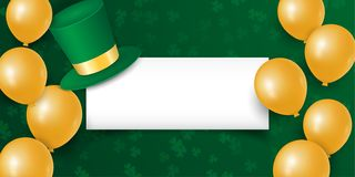 Happy St. Patrick`s day with clover shamrock leaves, gold balloons and hat with empty space. royalty free illustration