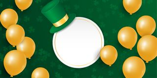 St. Patricks day with clover shamrock leaves, gold balloons and hat. vector illustration