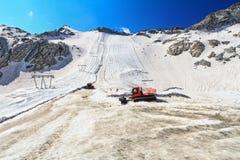 Presena glacier on summer. Summer view in Presena glacier  with geotextile fabrics, Italian Alps Stock Photography