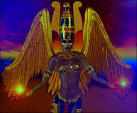 Presence Of An Angel. Angel with gold wings, fantasy image with Egyptian accents. Powerful image for myth, spirituality, magic, fantasy and more Royalty Free Stock Photography