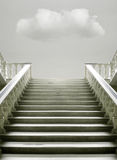 Presence. Artistic surreal imagine with a stairway with a cloud inside the room vector illustration