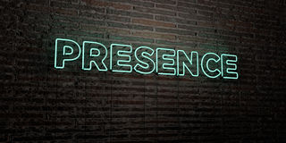PRESENCE -Realistic Neon Sign on Brick Wall background - 3D rendered royalty free stock image Stock Photos