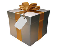 Present. With golden ribbon on a white background Royalty Free Stock Images