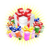 Present. Colorful present boxes with shiny background stock illustration