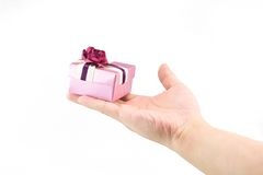 Present. Small gift box on human hand Stock Image