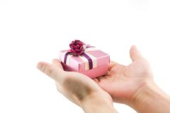 Present. Small gift box on human hands Royalty Free Stock Photo