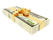 Present. Dollar present on white background Royalty Free Stock Photo