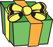Present. Vector image of a present that is green with yellow and orange ribbons stock illustration