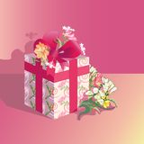 Present. Festive present in colorful wrapper with flowers Royalty Free Stock Photo