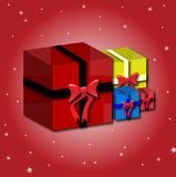Present. Four presents on a red starry white background Stock Images