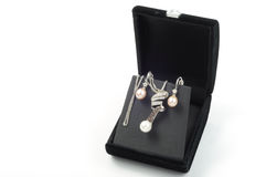 Present. White gold set with pearls in open black gift box Stock Images