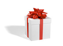 Present. With red ribbon isolated on white Stock Images