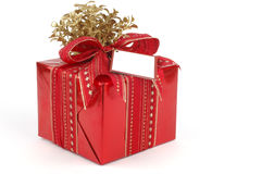Present. Beautifully wrapped present in red and gold Stock Image