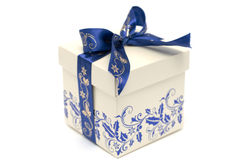 Present. With blue ribbon isolated on the white background Royalty Free Stock Photo