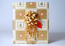 A present. A nicely wrapped Christmas present Stock Photo