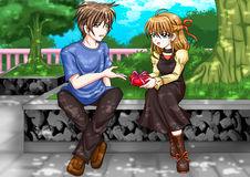 A Present. Cartoon illustration of a man giving a girl a present Royalty Free Stock Image