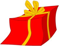 Present. In a red box with golden ribbon Royalty Free Stock Photography