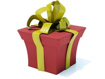 Present. Red present with gold bow isolated on white Royalty Free Stock Photos