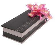 Present. The box is decorated with gift bow on a white background Stock Image