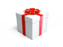 Present. 3d rendered white fancy box with red ribbon birthday present on white background Royalty Free Stock Photo