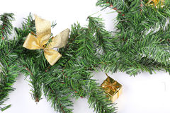 Present bag on new year firtree branch. Closeup Royalty Free Stock Photo