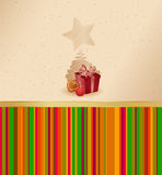Present, ball and gingerbread cake Stock Photos