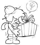 Present-bearer. A little boy gets a present royalty free illustration