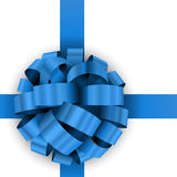 Present blue bow. Christmas present blue bow template isolated on white background Stock Images