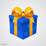 Present blue box with golden ribbon. Royalty Free Stock Photography