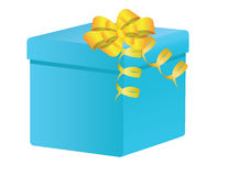 Present. Blue box with yellow ribbon. Stock Images