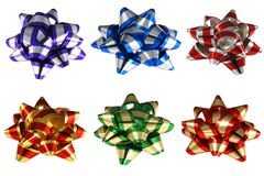 Present bows. Isolated six colorful ribbon bows for presents in high resolution Stock Photo