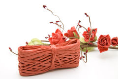 Present bows with roses. For packaging stock photos