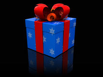 Present box. 3d illustration of christmas present box over black background Stock Images