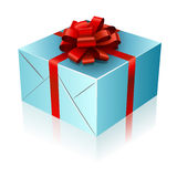 Present box. With red ribbon and bow Stock Images