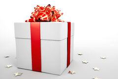 Present box. 3D illustration of funky square present box with a bow Royalty Free Stock Image
