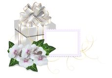 Present box. White present box with white and golden ribbons, orchid flowers and blank card for text Stock Photo