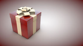 Present box. Red present box on neutral background and copy space Royalty Free Stock Photography