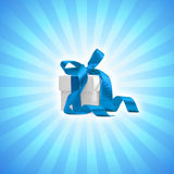 Present box. On blue background. FIND MORE es in my portfolio Stock Photo