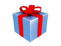 Present box. 3d render of blue present box isolated Royalty Free Stock Photography