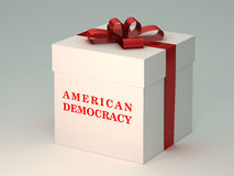 Present  box with american democracy title Stock Photography