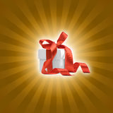Present box with background. Present box with golden background Royalty Free Stock Image
