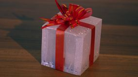 Present box with with beautiful lights. Present box with beautiful lights shining