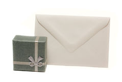 Present box with blank envelope Stock Images