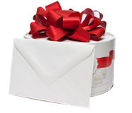 Present box with blank envelope Royalty Free Stock Photography