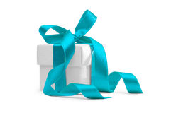 Present box with blue ribbon Royalty Free Stock Image