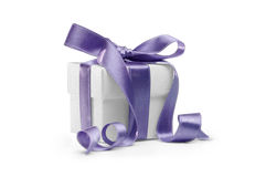 Present box with blue ribbon Royalty Free Stock Photo