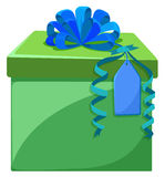 Present box with blue ribbon. Illustration Royalty Free Stock Photos