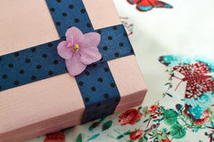 Present box  with a blue ribbon and  a violet flower Stock Images