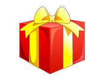 Present box with the bows. Red present box with the yellow bows Stock Photo